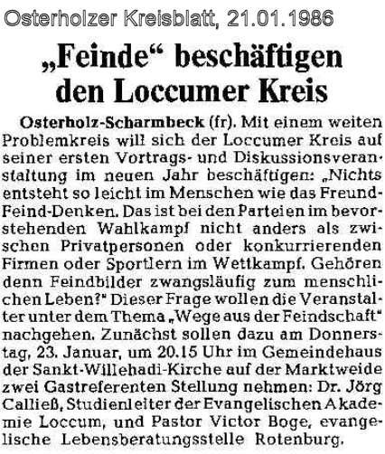 Loccumer Kreis Osterholz Scharmbeck Presse Echo 1985 1986
